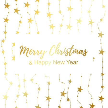 Golden magic star pattern. Merry Christmas and Happy New Year poster. Vector Illustration
