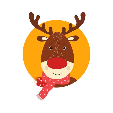 Isolated deer cute smile character. Cartoon scandinavian christmas symbol. Vector Illustration. Emoji. Smiley face