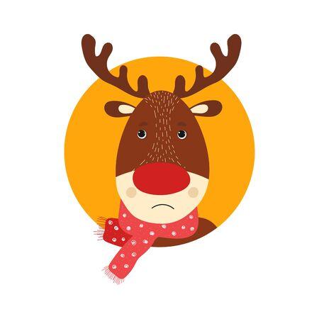 Isolated deer cute smile character. Cartoon scandinavian christmas symbol. Vector Illustration. Emoji. Pensive Face