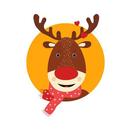 Isolated deer cute smile character. Cartoon scandinavian christmas symbol. Vector Illustration. Emoji. Smiling Face With Heart Иллюстрация