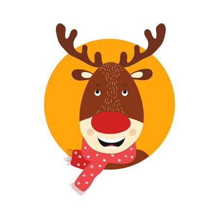 Isolated deer cute smile character. Cartoon scandinavian christmas symbol. Vector Illustration. Emoji.