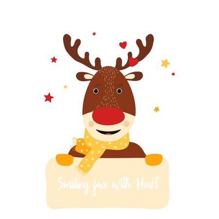 Isolated deer cute smile character. Cartoon christmas symbol with table for text in scandinavian style. Vector Illustration. Emoji. Smiling Face With Heart Иллюстрация