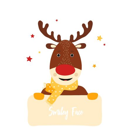Isolated deer cute smile character. Cartoon christmas symbol with table for text in scandinavian style. Vector Illustration. Emoji. Smiley face