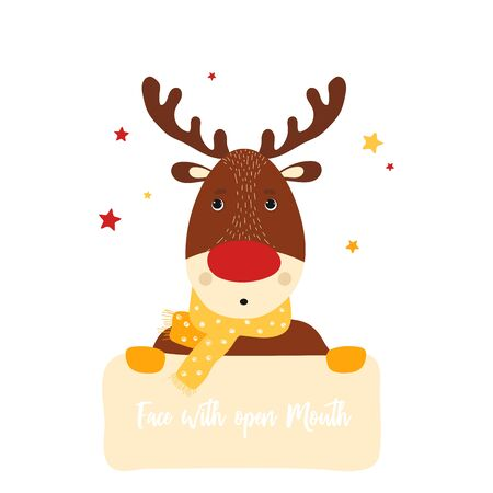 Isolated deer cute smile character. Cartoon christmas symbol with table for text in scandinavian style. Vector Illustration. Emoji. Face With Open Mouth Иллюстрация