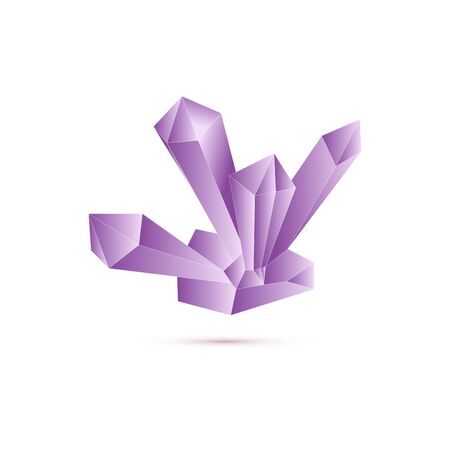 Isolated nature stone crystal. Purple natural object. Vector illustration