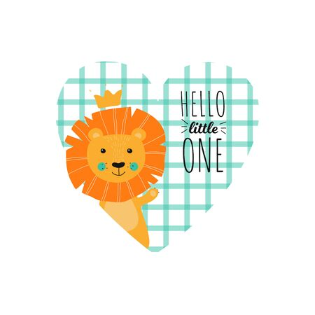 Isolated cute hand drawn lion with crown. King animal in scandinavian style for baby shower card, birthday, poster. Print illustration in vector hello little one