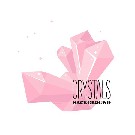 Isolated pink crystal background for ice concept. Gemstone for icon and poster design. Vector Illustration Ilustrace