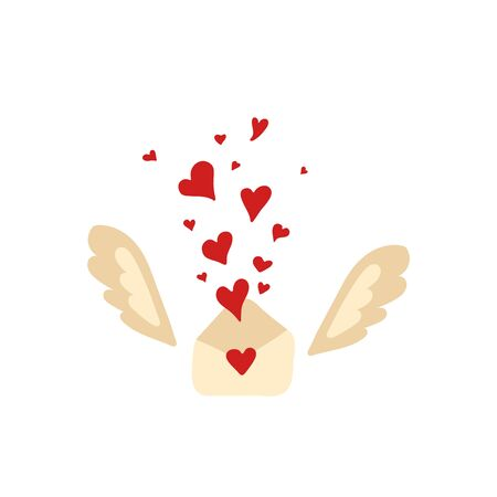 Isolated cute hand drawn wings and envelope in scandinavian style. Love symbol heart. Vector Illustration Иллюстрация