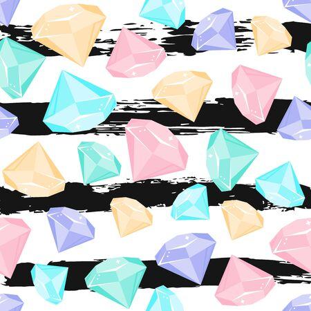 Nahtloses Muster mit Kristall im Vektor an Hand gezeichnete Linie Hintergrund. Netter Hintergrund für T-Shirt, Kinderdesign, Webkonzept. Edelstein-Vektor-Illustration