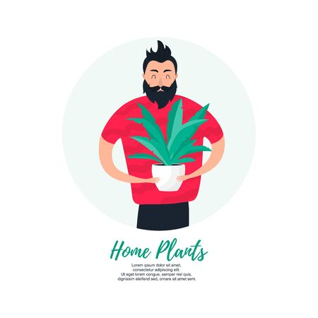 Isolated young man keeping in hands home plant in pot. Buy your houseplant concept in modern flat style. Vector Illustration