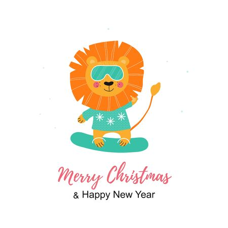Merry Christmas poster. Cute Hand Drawn nordic Lion with Snowboard and glasses. King animal in scandinavian style doing sport. Print illustration in vector