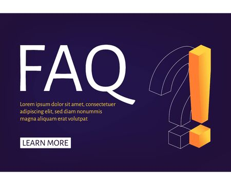 Web Banner template Exclamation and Question Mark isometric style. Ask Questions and receive Answers. Online Support center. Flat Vector Illustration