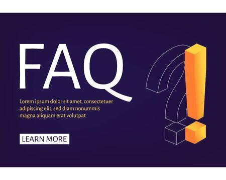 Web-Banner-Vorlage Ausrufezeichen und Fragezeichen isometrischer Stil. Stellen Sie Fragen und erhalten Sie Antworten. Online-Support-Center. Flache Vektorillustration