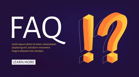 Banner template Exclamation and Question Mark isometric style. Ask Questions and receive Answers. Online Support center. Flat Vector Illustration 向量圖像