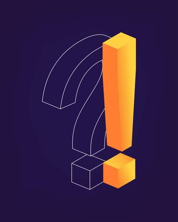 Exclamation and Question Mark isometric style. Online Support center. Ask Questions and receive Answers. Online Support center. Why and Yes Concept. Flat Vector Illustration