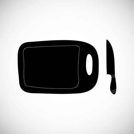 Isolated cute chop board with knife in flat style. Simple cutting icon vector. Ilustração