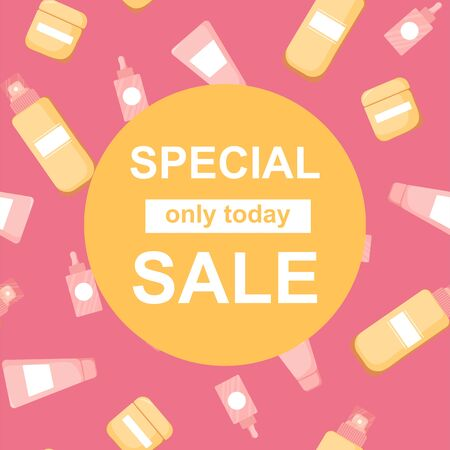 Special Sale banner with skincare product. Cosmetics symbols. Commercial beauty product template, background. Vector Illustration