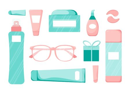 Set of Cute skincare cosmetics icon in cartoon style. Beauty woman face nature cosmetic vector illustration