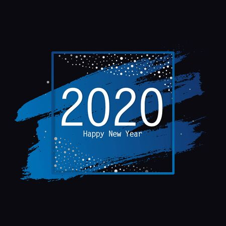 2020 card template Happy New Year in square with silver confetti and snow, lights. Holiday background for social media, web, poster. Vector Illustration