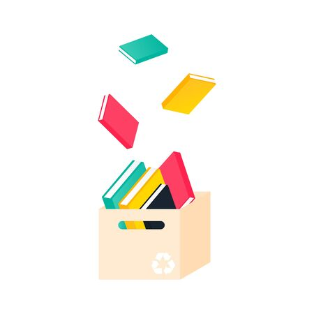 Donation box with books. Charity recycle gift. Flying used book in paper box concept. Vector Illustration