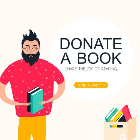 Books donation poster concept. Man holding paperbox with second books in modern flat style. Share the joy for reading. Printable vector illustration Stock Illustratie