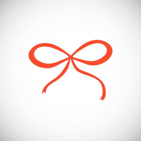 Isolated Red bow. Simple cute ribbon silhouette with in scandinavian style.