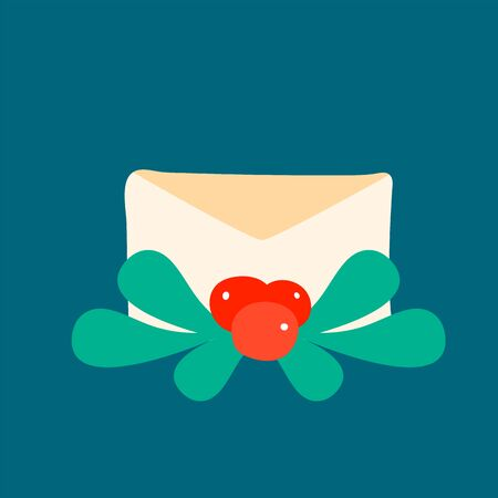Composition close paper envelope with winter fruits and leaves. Simple holiday email in scandinavian style.