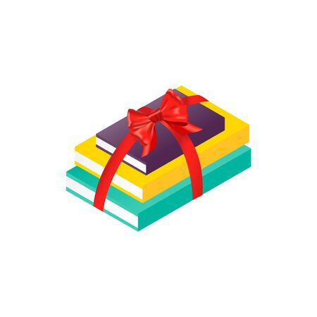 Isolated book stack. Isometric vector paper book. Christmas present with bow.