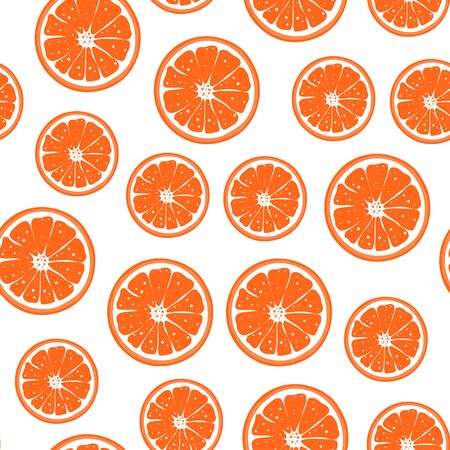 Seamless pattern with orange slice. Cute winter silhouette fruit for wallpaper, poster, sale, repeat cut citrus backgound. Vector Illustration