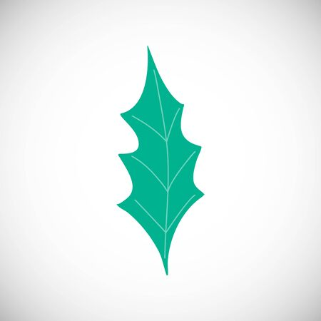 Isolated winter leaf. Simple green silhouette in modern scandinavian style.