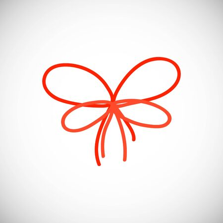 Isolated Red bow. Simple ribbon silhouette with in scandinavian style. Illustration