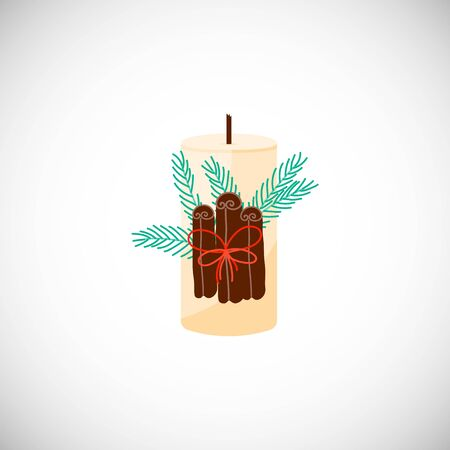 Isolated Christmas candle with cinnamon and Christmas tree branch bouquet in scandinavian style. Hygge winter concept. Cozy interior element. Vector Illustration