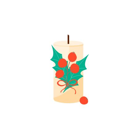Isolated Christmas candle with decoration in scandinavian style. Hygge winter concept. Cozy interior element. Vector Illustration