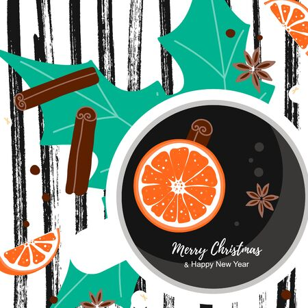 Merry Christmas template card with winter elements composition. View top cup of coffee with orange, cinnamon, anise in scandinavian style on striped background. Concept for ad, sale, poster, greeting vector illustration