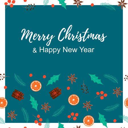 Merry Christmas card. Printable noel template poster. Scandinavian style. Vector Illustration