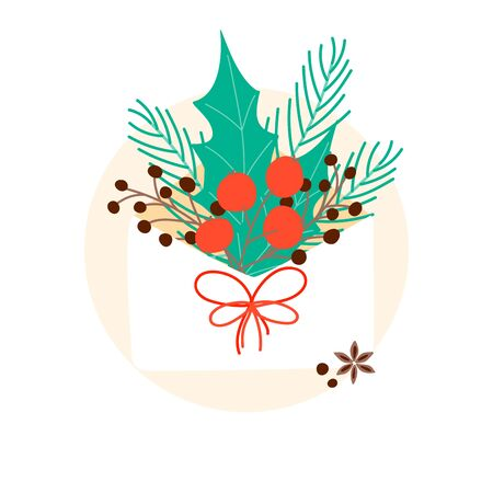 Christmas bouguet in envelope. Composition concept for winter ad, card, poster, background. Vector Illustration