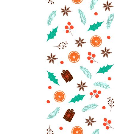 Winter background with seamless decor strip for poster, banner, card, ad, sale, web. Hygge concept. Vector Illustration  向量圖像
