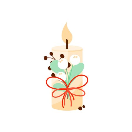 Christmas candle with decoration in scandinavian style. Hygge winter concept. Cozy interior element. Vector Illustration
