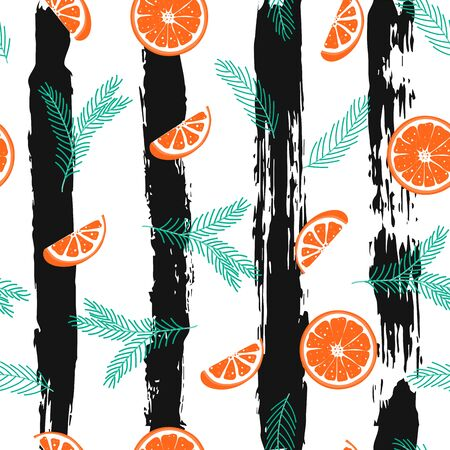 Seamless pattern with Christmas tree branch and orange slice in scandinavian style on striped background. Hygge concept background. Winter wallpaper ornament. Vector Illustration Illustration