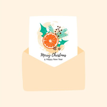 Merry Christmas card in open envelope. Hygge winter concept for greeting background. Scandinavian style. Vector Illustration Ilustracja