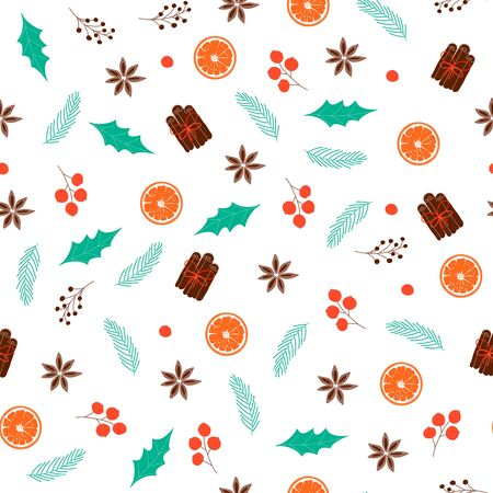 Seamless pattern with Christmas elements. Design for wallpaper, gift, printable repeat background. Vector Illustration 向量圖像