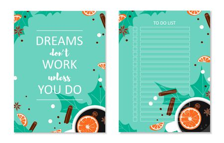 Set of Printable A4 cute business to do list with check boxes and cover. Winter composition cup of coffee, orange, leaf, roll, star anise on green background. Day planner template. Vector Illustration