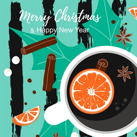 Merry Christmas template card with winter elements composition. View top cup of coffee with orange, cinnamon, anise in scandinavian style on striped background.  vector illustration Ilustracja