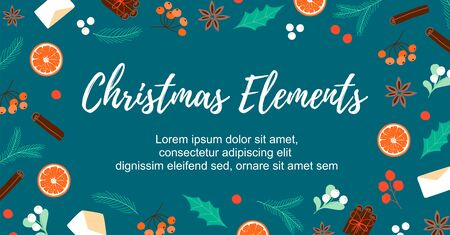 Banner with winter objects. Blank template for sale, poster, promo, wallpaper, background. Vector Illustration