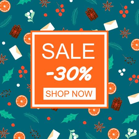 Sale banner concept. Poster with winter objects. Blank template for sale, promo, wallpaper, web. Shop Now button. Vector Illustration Ilustracja