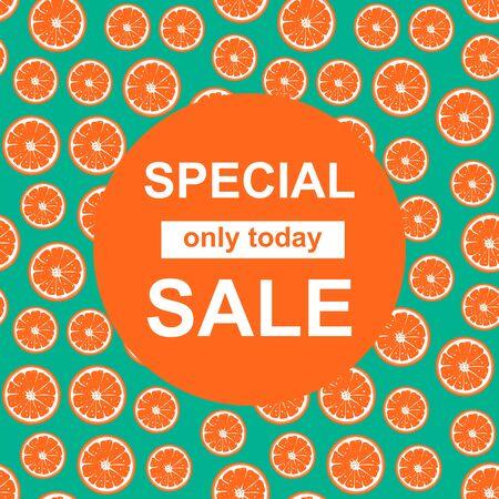 Special Sale banner with orange slice pattern.  Winter symbols. Commercial season offer template, background. Vector Illustration Illustration