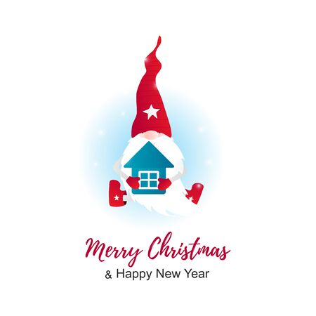 Isolated Christmas cute gnome with little house in hands. Merry Crristmas card. Vector Illustration Illustration