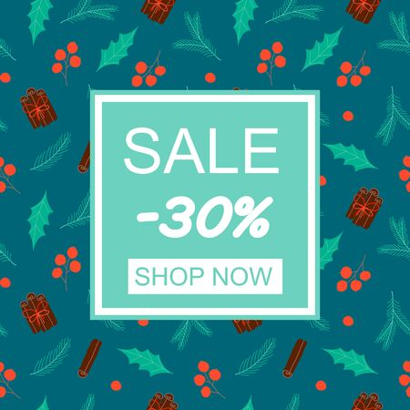 Sale poster. Shop Now. Christmas elements. Design for wallpaper, gift, printable repeat background. Vector Illustration