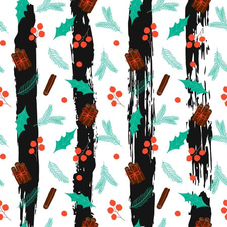 Seamless pattern with Christmas elements on striped background. Design for wallpaper, gift, printable repeat pattern. Vector Illustration