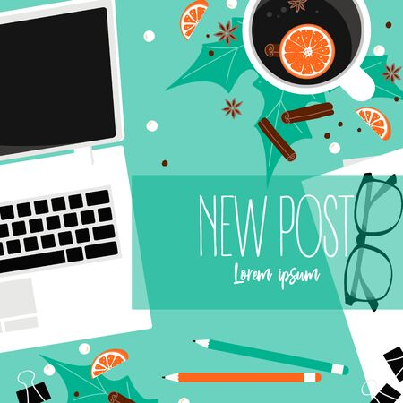New post background for social web site. Winter poster. Workplace for business, management and IT. View from above. Vector Illustration Illustration